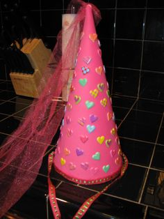 Princess hat for 100th day of school - foam, tulle, ribbon, and stickers.