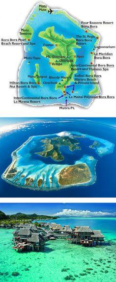 "A-1) Bora Bora Island, French Polynesia, South Pacific Ocean. "" The Romantic Island"""