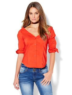 Shop 7th Avenue Design Studio - Madison Stretch Shirt - V-Neck Off-The-Shoulder. Find your perfect size online at the best price at New York &…