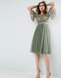 Needle and Thread Ruffle Sleeve Midi Dress With Floral Embroidery