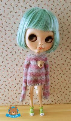 #sweater #bear #mohair #Blythe #Dollsaregood #Mitilene #stripes #longsleeves