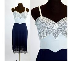 1960s slip 60s lingerie navy blue white full slip by vintagerunway
