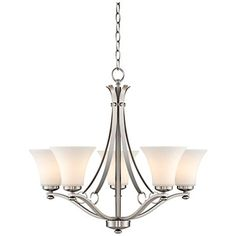 "Brushed Nickel White Glass 26 1/2"" Wide 5-Light Chandelier"