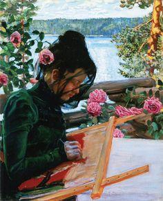 Akseli Gallen-Kallela aprilie 1865 - 7 martie pictor şi grafician finlandez - Marie stickend in Kalela Illustrations, Illustration Art, Blog Art, Sewing Art, Art Design, French Artists, Art World, Female Art, Art Museum