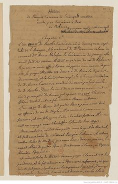 Original handwritten manuscript.  Volume I, which begins with Casanova's genealogy and covers up to 1744. Fail, Genealogy, Sheet Music, Writing, The Originals, Being A Writer, Music Sheets