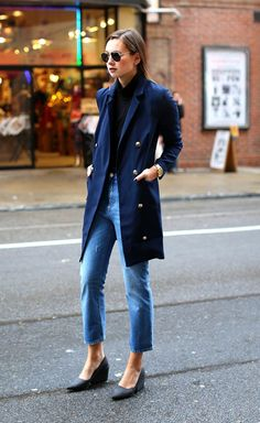 Navy jacket + black top + jeans