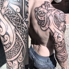 This is what I've been tattooing the past couple of days. I always enjoy tattooing Nordic dragons and wolves! Celtic Sleeve Tattoos, Viking Tattoo Sleeve, Irish Tattoos, Viking Tattoos, Celtic Knot Tattoo, Celtic Knots, Buddha Tattoos, Body Art Tattoos, Tribal Tattoos