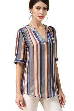Women's Clothing, Tops & Tees, Blouses & Button-Down Shirts, Women's Multicolor Striped Chiffon Blouses V Neck Sleeves Top Shirts - Multicolor in Beige - & Button-Down Shirts Kurta Designs, Blouse Designs, Gown Dress Design, Metallic Pleated Skirt, Mode Abaya, Indian Gowns Dresses, Mode Plus, Blouses For Women, Tunic Tops