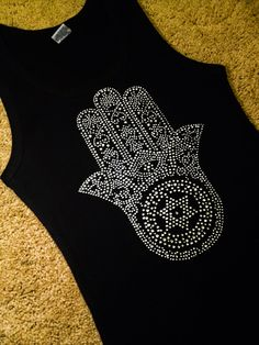 Large HAND of GOD Hamsa Rhinestone Bling Shirt, Jewish Star, Star of David, Small Medium Large XL 2x 3x Plus Size black white red aqua pink
