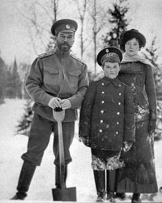 Nicholas II (Nikolay Alexandrovich Romanov) (1868-1918) Russia with 2nd Child Grand Duchess Tatiana Nikolaevna Romanov (1897-1918) Russia & 5th Child Tsarevich Alexei Nikolaevich Romanov (1904-1918) Russia