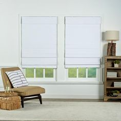 Perfect Lift Window Treatment White Insulating Cordless Cotton Roman Shade - 53 in. W x 72 in. L