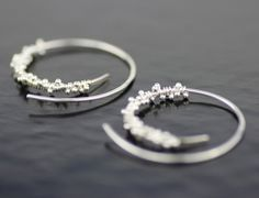 icicle hoops sterling silver earrings  unique modern by lolide, $68.00