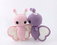 Mesmerizing Crochet an Amigurumi Rabbit Ideas. Lovely Crochet an Amigurumi Rabbit Ideas. Crochet Butterfly Free Pattern, Crochet Bee, Crochet Animal Patterns, Crochet Patterns Amigurumi, Stuffed Animal Patterns, Crochet Animals, Crochet Toys, Crochet Stitches, Borboleta Crochet