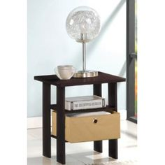 Furinno Espresso Living Set, End Table Bedroom Night Stand (bestseller) Espresso End Table, Fabric Drawers, Bedroom Night Stands, Coffe Table, End Tables With Storage, Entertainment Center, Gatsby, Living Room Furniture, Table Furniture