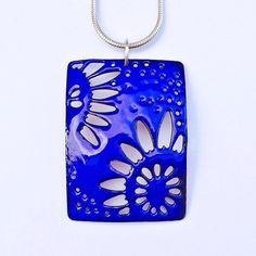 Enameled Sunflowers Necklace - Royal Blue on Etsy