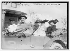 Mayor Ardolph Loges Kline (1858-1930), a Republican politician who became acting Mayor of New York City after the death of Mayor William Jay Gaynor, with his wife, daughter and son-in-law Fred Schnell.
