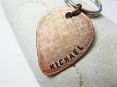Personalized Key Chain Copper Guitar Pick by MetalAccessories, $16.00