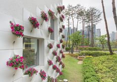 "Completed in 2015 in Seoul, South Korea. Images by Kyungsub Shin. Beyond the typical kindergartens of the city ""Flower+ Kindergarten"" is a project, located in Seoul, the capital city of Korea. In Seoul, there are. Das Abc, Kindergarten Design, Vertical Garden Design, Small Space Gardening, Urban Gardening, Modern Wall Decor, Arte Floral, Architect Design, Garden Planters"