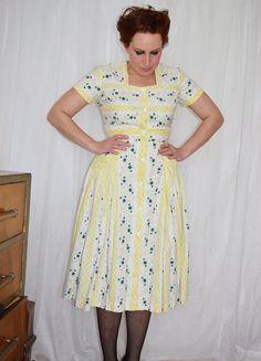 50s Yellow Sun Dress Fifites Summer Wear Full by MoonWalkVintage, £67.00