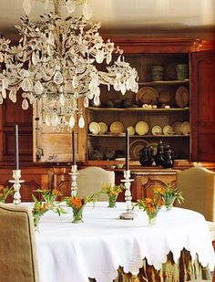 Antique rock crystal chandelier in this beautiful Belgian home of designers Alain and Brigitte Garnier.The home dates back to 1275.