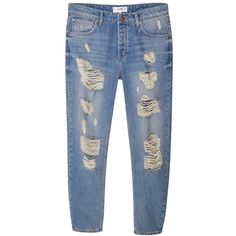 Mango Boyfriend Angie Jeans, Light Open Blue ($29) ❤ liked on Polyvore featuring jeans, bottoms, pants, trousers, blue jeans, blue ripped jeans, boyfriend jeans, relaxed boyfriend jeans and relaxed fit jeans