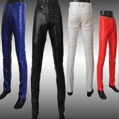 2017 mens tight leather pants male slim skinny pant mens leather pants men's clothing casual leather trousers fashion red blue