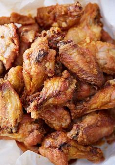 The best chicken wings! These baked chicken wings are extra crispy on the outside and very juicy inside. They are like deep-fried wings, only without a mess and added calories. Oh, and they only take 30 minutes to bake. Crispy Chicken Wings, Crispy Baked Wings, Deep Fry Chicken Wings, Oven Baked Wings, Chicken Breasts, Brine For Chicken Wings, Chinese Fried Chicken Wings, Deep Fry Wings, Best Baked Chicken Wings