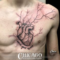 A popular style these days, and for good reason. #GuardYourHeart This one's by Omar! #sketchdesign #art #tattoo #chesttattoo #chestpiece #sketchtattoo #tattoodesign #chicagotattooorlando #chicagotattooco