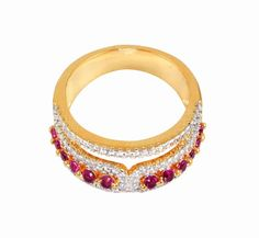 RED LOOK STONE & CUBIC ZIRCONIA GOLD PLATED RING  JEWELRY 7.00 US NO. 11765RUG