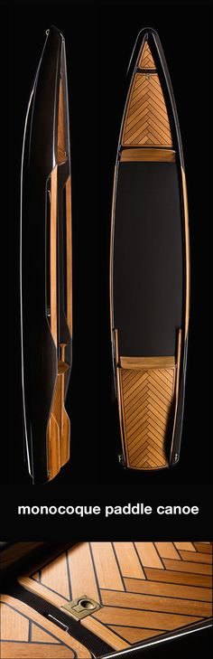 Kayak Accessories Awesome monocoque paddle canoe is crafted of copper-woven carbon fiber classic teak wood by borromeo de silva via designboom - Corvette Cabrio, Chevrolet Corvette, Wooden Kayak, Wooden Boats, Remo, Cool Boats, Small Boats, Yacht Design, Boat Design