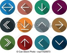 Vector - Flat arrow icons. - stock illustration, royalty free illustrations, stock clip art icon, stock clipart icons, logo, line art, EPS picture, pictures, graphic, graphics, drawing, drawings, vector image, artwork, EPS vector art