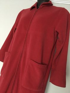 7951384c1a LL Bean Womens Nightgown Robe Small Fleece Red Full Zip Pockets Warm Heavy   LLBean