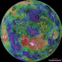 Colorful VenusCredit: NASA/JPL/USGS This hemispheric view of Venus was created using more than a decade of radar investigations culminating in the 1990-1994 Magellan mission, and is centered on the planet's North Pole. The Magellan spacecraft imaged more than 98 percent of Venus and a mosaic of the Magellan images forms the image base.
