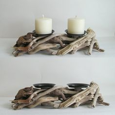 A new addition to our line, this driftwood candle holder has tons of rustic charm! www.driftingconcepts.com