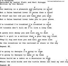 Bluegrass song: I'm Troubled, lyrics and chords Lyrics And Chords, Song Lyrics, Mandolin Songs, Lester Flatt, Absinthe Fairy, Grief, Writing, Music, Musica