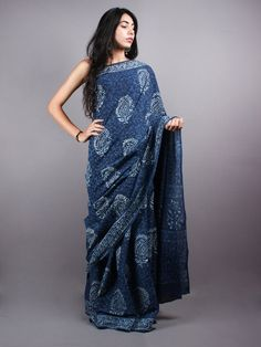 Indigo Cotton Hand Block Printed Saree - S0317054