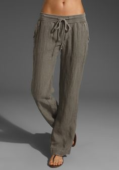 James Perse Summer Linen Pants in Gray (greystone) - Lyst