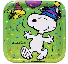 Snoopy Birthday Party Square Dessert Plates 8 Pack u2013 First Birthday Supplies  sc 1 st  Pinterest & 6 BALLOONS new SNOOPY u0026 WOODSTOCK charlie BROWN party FAVORS ...
