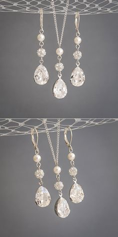 Bridal & Wedding Party Jewelry Nina Odeta Crystal Ivory/off-white Organza Drop Earrings Wedding/bridal Engagement & Wedding