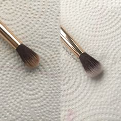 Before and after using the Restore brush cleanser! My eyeshadow brush is back to looking brand spankin' new and the bristles are so much softer! If you want your brushes sanitized, conditioned, and smell amazing this is the cleanser for you! Brush Cleanser, Maskcara Beauty, Eyeshadow Brushes, War Paint, Restore, Amanda, Restoration, Conditioner, Make Up