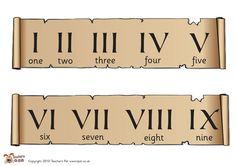 Teacher's Pet - Roman numerals banners - FREE Classroom Display Resource - EYFS, KS1, KS2, ancient, rome, romans, gods, Jupiter, roman, empire, numeral