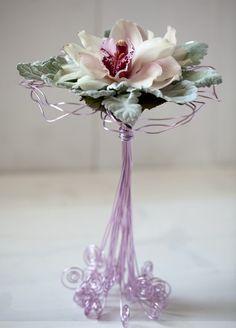 orchid & sage bouquet, wire stem