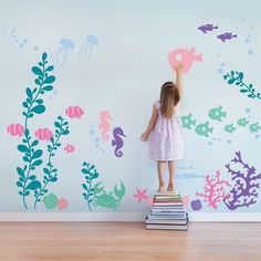 "Create an underwater sea aquarium in your baby nursery or kids playroom with our Under the Sea wall decals. Introduce your child to the wonders of marine life. Size: Overall Size (approx): 141""w x 96"""