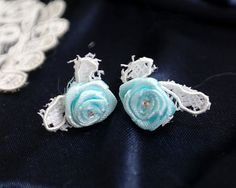 Stud Earrings Something Blue White Lace Rose Flower Bridal earrings Bridesmaid Gift Post Earrings Small Rose Earring,wedding jewelry