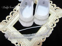 White Satin Baby Girl Soft Sole by babyScarlettBoutique on Etsy, $29.99