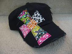 Black baseball hat with cross by Two Girls by 2girlswhomakecrosses, $25.00