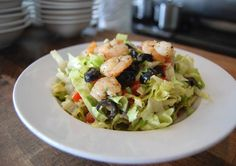 Shrimp & Avocado Salad - Shredded Romain, Grilled Shrimp, Avocado, Tomatoes, Black Olives & our Lemon Herb Vinaigrette #rostituscankitchen #encino #calabasas #santamonica #shrimp #salad #healthy #cleaneating #fresh
