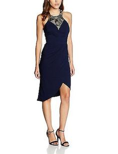 16, Blue (Navy), Little Mistress Women's Embellished Wrap Front Dress NEW