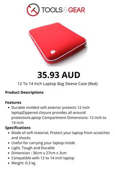 Durable molded soft exterior protects 12 inch laptop Zippered closure provides all-around protection Laptop Compartment Dimensions: 12 inch to 14 inch Computer Gadgets, Laptop Bag, Zip Around Wallet, Exterior, Closure, Red, Bags, Handbags, Dime Bags