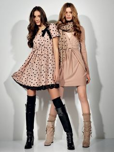 SCEE by TWIN-SET Simona Barbieri: printed polka dot dress with pleated detail lace bow and hem, V-necked jersey dress with braiding and woollen scarf with polka dot print.